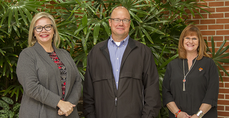 2017 John & Suanne Roueche winners from OSUIT: Nursing instructor Jodi Campbell, left, Academic Excellence and Distance Learning Director David Files, and Student Union Bookstore Manager Alison Ward.