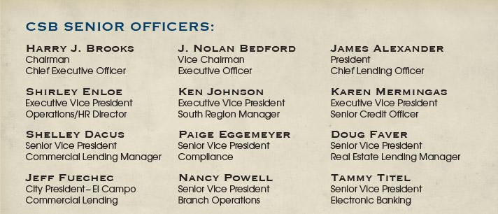 CSB Senior Officers