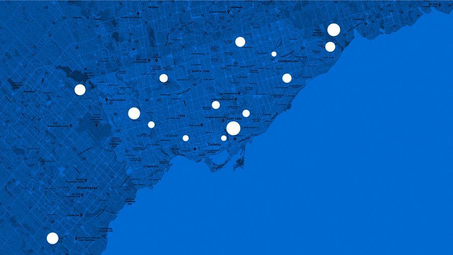 Map showing pins around GTA.