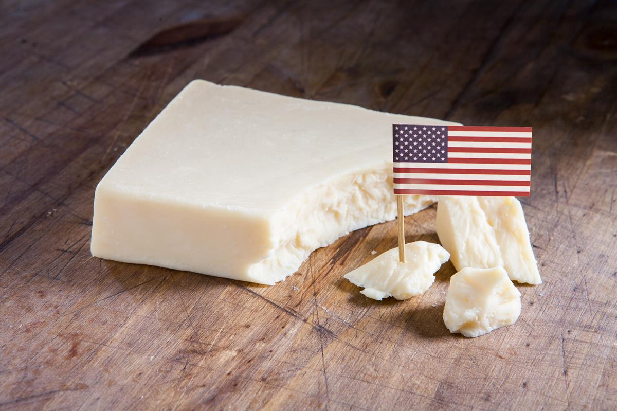 chunk of cheddar with American Flag