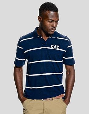 Mens Striped Golfer With Logo Applique