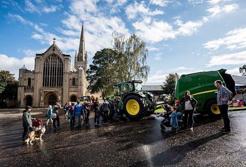 Farm machinery outside Norwich Cathedral