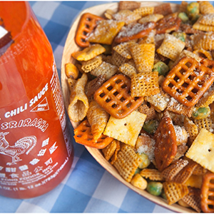 Bowl of Sriracha Snack Mix