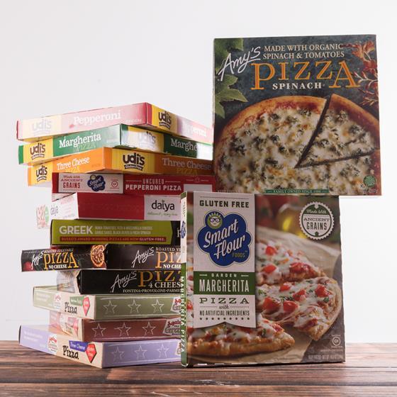 Boxes of frozen pizzas