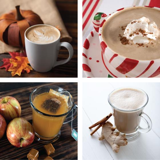 Holiday flavored lattes, mochas and cider