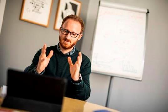 A teacher delivering an online course