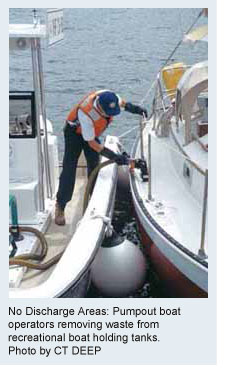 No Discharge Areas: Pumpout boat operators removing waste from recreational boat holding tanks. Photo by CTDEP