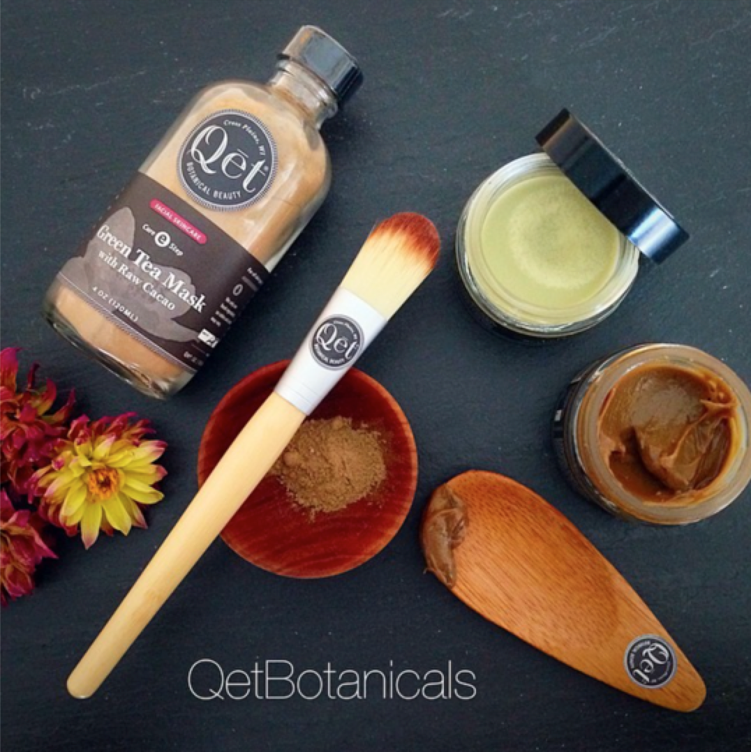 Qēt Botanicals green tea mask with raw cacao