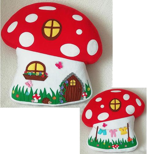 Toadstool Cottage Cushion designed by Gail Penberthy