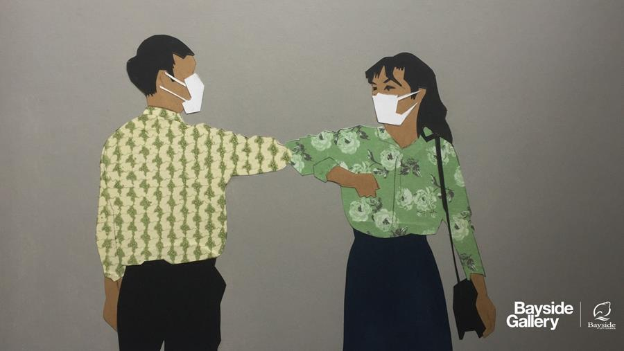 Painting of two people elbow bumping