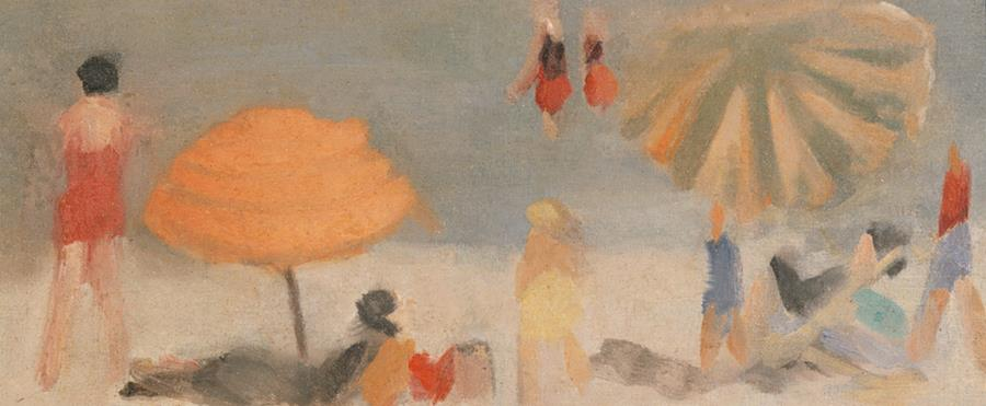 painting of beach and umbrellas
