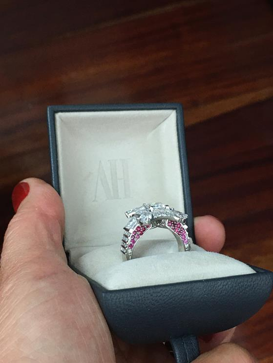 Bespoke Diamond and ruby Ring by Alice Herald