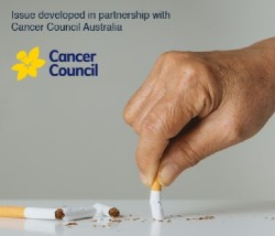 Cover of Tobacco Control Journal Special Edition. Hand stubbing our cigarette butt