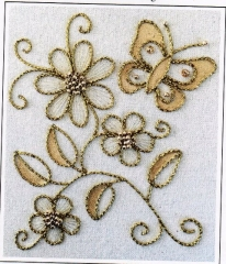 Couched Butterfly and Flowers goldwork kit designed by Kathleen Laurel Sage