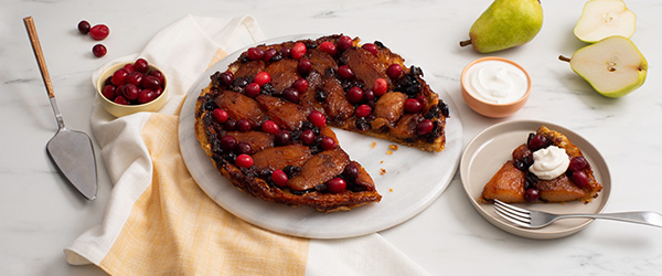 Photo of Photo of spiced pears and cranberry tart.