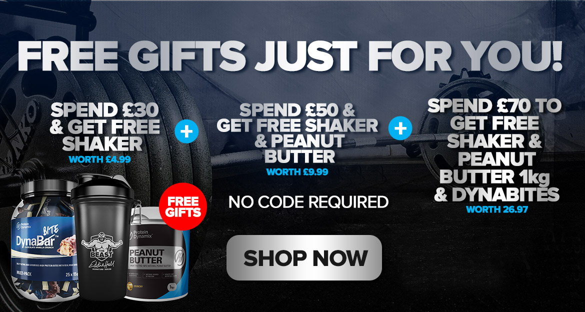 Free gifts when you spend at Protein Dynamix