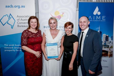 Image (left to right): Lyn Lewis-Smith (AACB President), 2016/17 winner, Samantha Thompson (Gold Coast Tourism), Penny Lion (Tourism Australia), Andrew Hiebl (AACB)