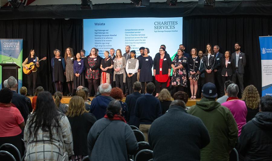 Charities Services staff singing a waiata, Ratonga Atawhai