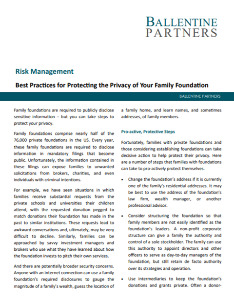Best Practices for Protecting the Privacy of Your Family Foundation