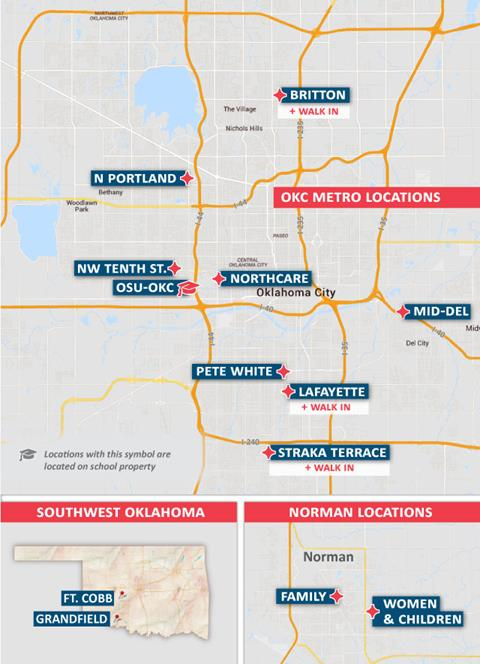Map showing Variety Care locations.