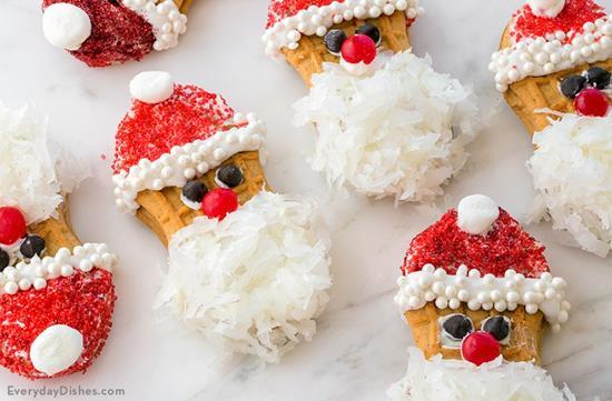 Easy No-Bake Santa Cookies