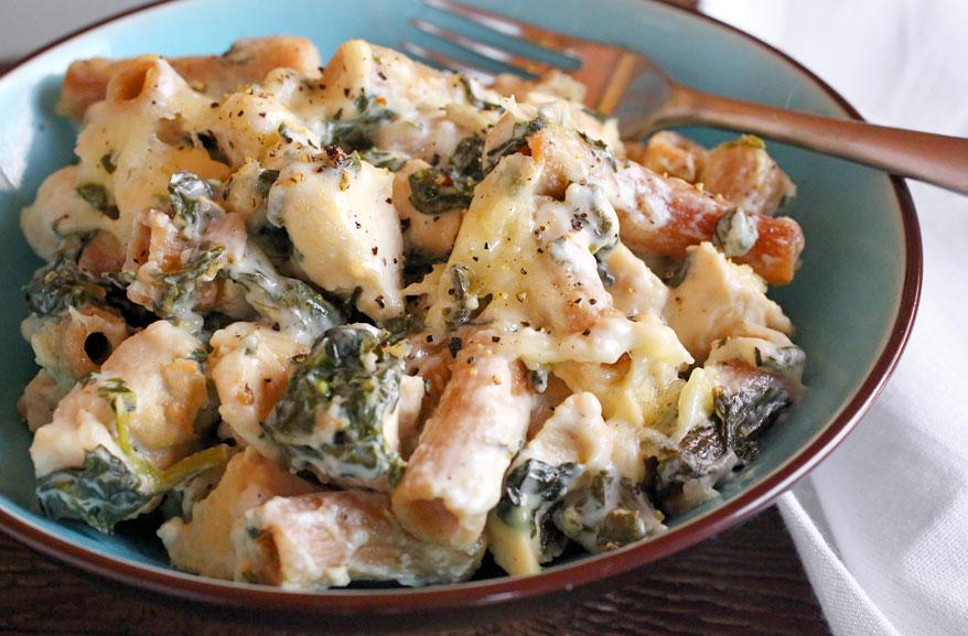 Einkorn Asiago chicken pasta bake