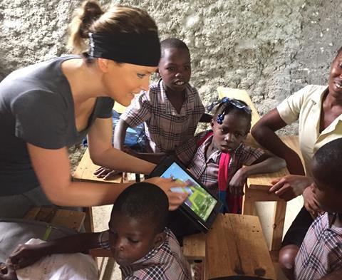 Mission-Haiti sponsored students in art class