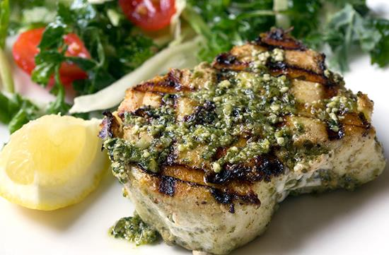 Grilled Halibut with Pesto