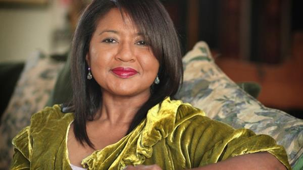 Presidential debate expert Velina Hasu Houston photographed in her home.