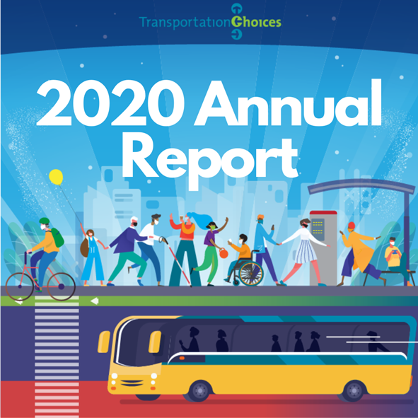 """Illustration of bus and people walking on sidewalk and celebrating transit. Text reads """"Transit for All Answer the Call"""""""