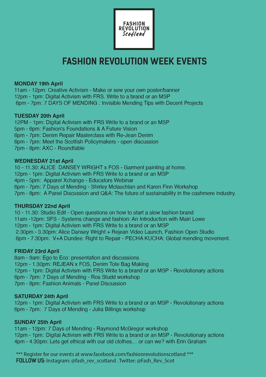 A list of events on during Fashion Revolution Week