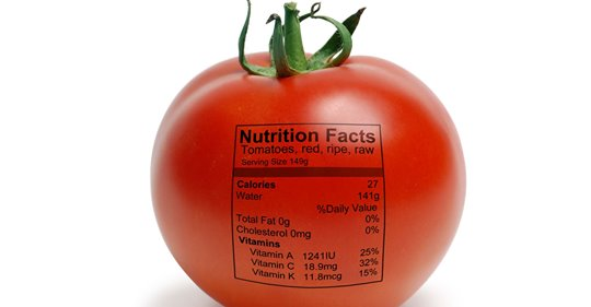 Tomato with nutrition label
