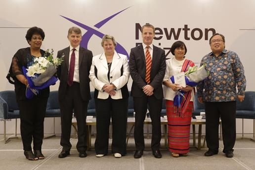 Newton Prize 2019 winners from Indonesia and the UK on stage with Heather Wheeler, UK Minister for Asia and the Pacific and Professor Bambang Brodjonegoro, Minister of Research and Technology/Head of National Research and Innovation Agency © Newton Prize 2019