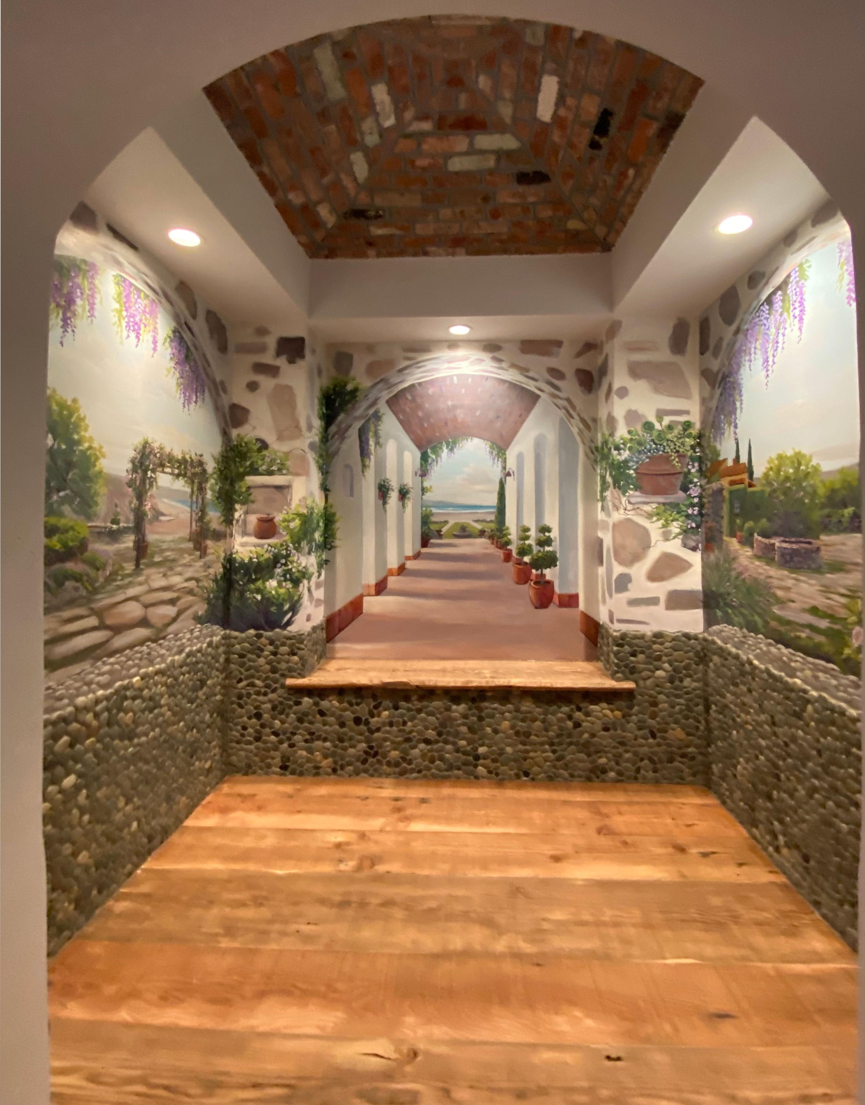 Italian Trompe l'oeil Mural Painting in Northern California Residence