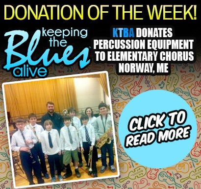 Keeping The Blues Alive Donates Percussion Equipment to Elementary Chorus. Due to recent budget cuts, a chorus program in Norway, Maine was forced to find alternative ways to accompany the school choir. Read about how your donations allowed them to re-purpose a donated drumset! Click here to read more