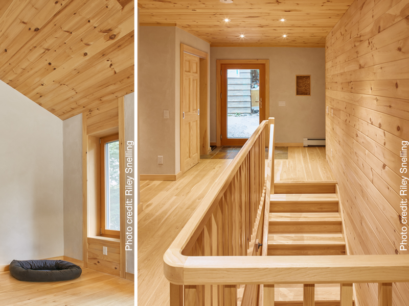 "Two views of a sustainably built home in Muskoka, with wood, earth plaster, LED lighting and ""truth window."" ."