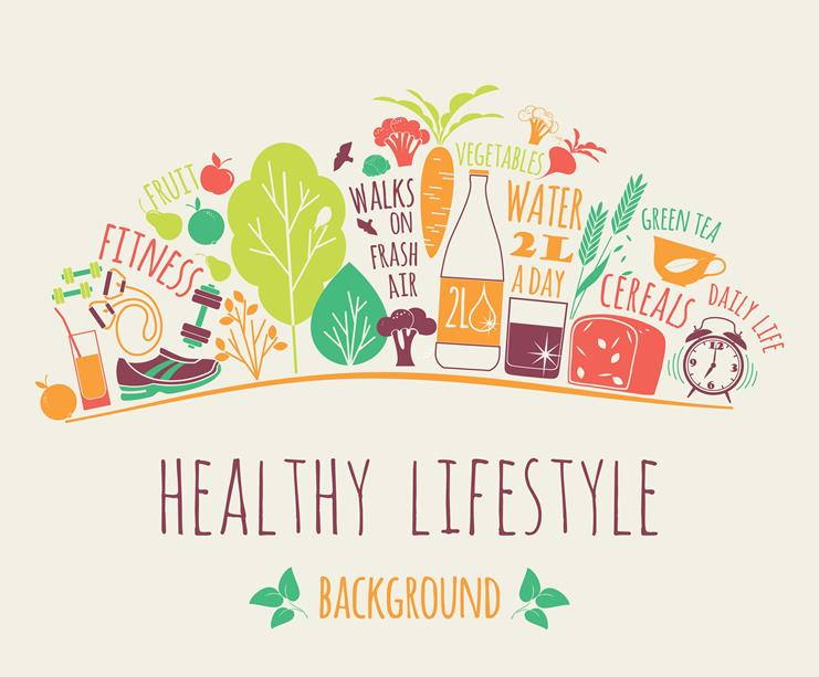 "Diagram of a headline that reads ""healthy lifestyle"" surrounding by exercise gear and fruit and vegetable."