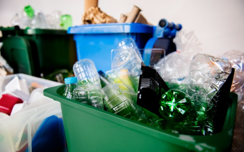 Plastic bottles sorted for recycling