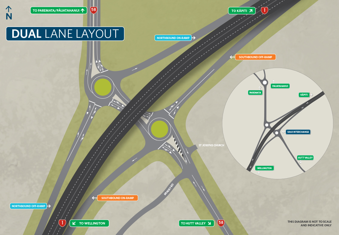 Map of State Highway 58 Interchange with a dual-lane layout.