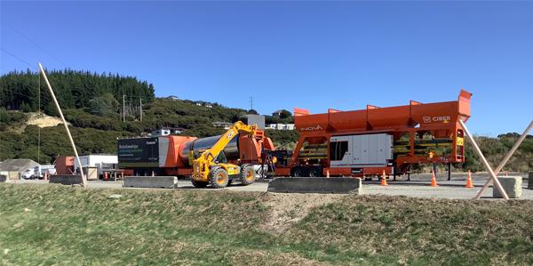 Mobile asphalt plant being erected.