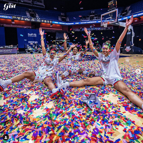 Big East Champions celebrating on court with confetti