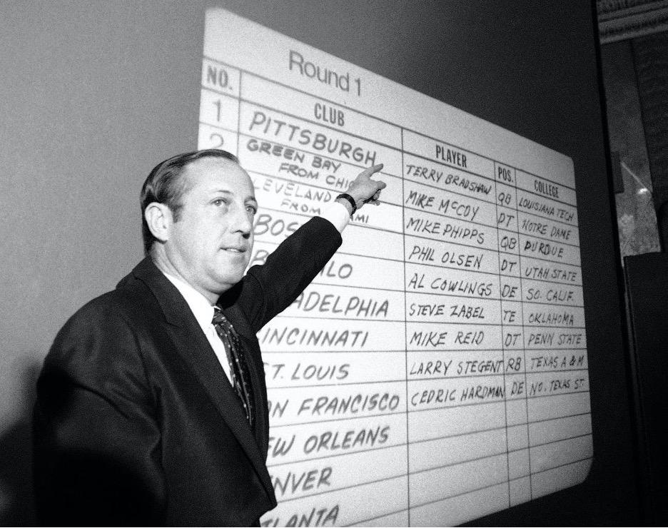 Man pointing at old draft board