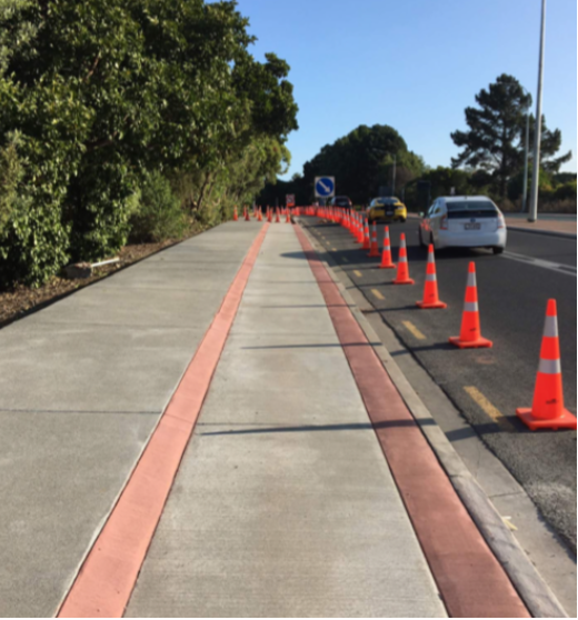 New footpath (left) and cycleway on St Lukes Road looking south
