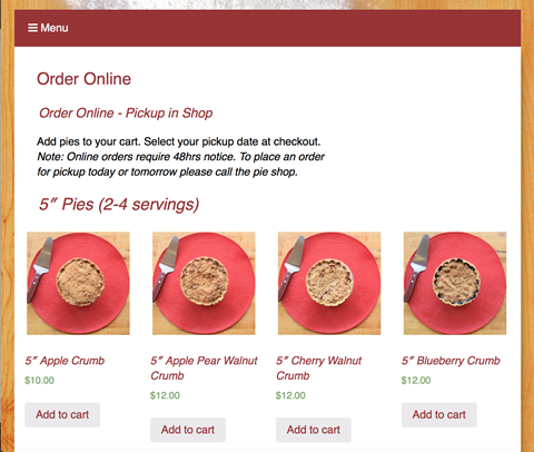 Pie Lady Order Online Catalog Page cherry pies