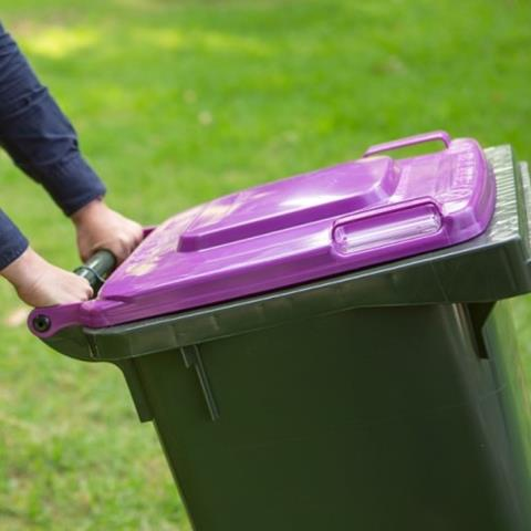 Person putting out purple bin