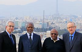 Ernesto Zedillo, Kofi Annan, Desmond Tutu and Martti Ahtisaari in Tehran, Iran