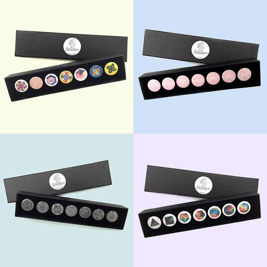 Stereohype's themed button badge gift boxes
