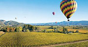 Ballooning over the vineyards in the Napa Valley